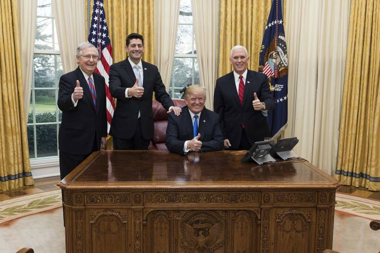 Trump, pence, ryan, mcconnell celebrate tax cut passage